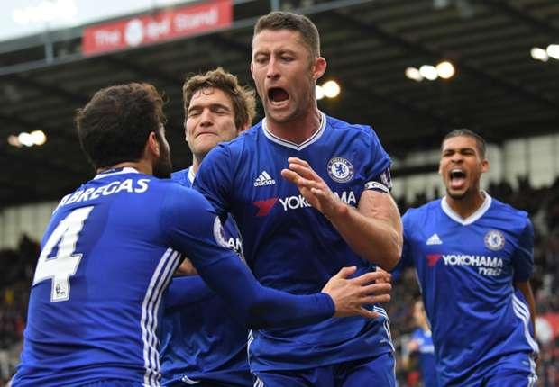 Chelsea defender Gary Cahill celebrates his winner against Stoke City