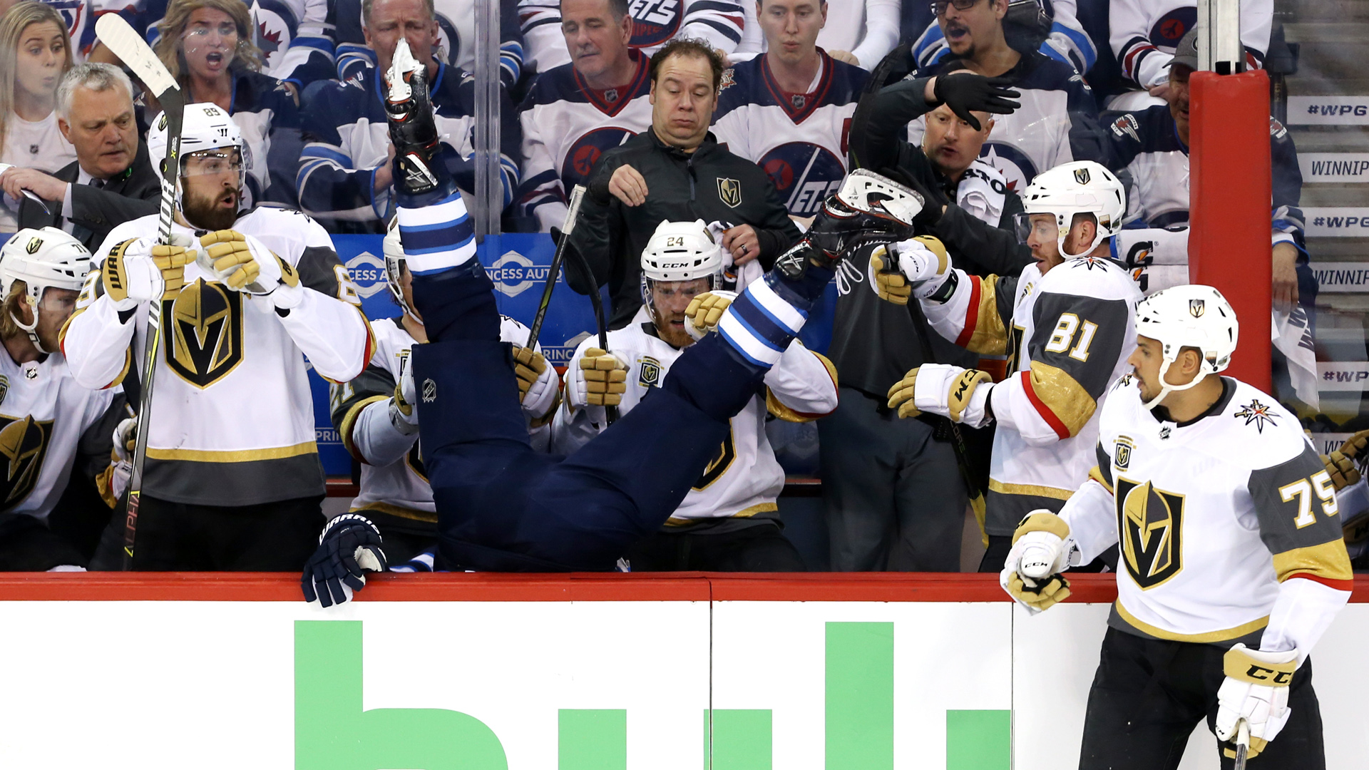 NHL Playoffs 2018: Jets' Blake Wheeler Sent Sprawling Into Golden Knights' Bench (video)