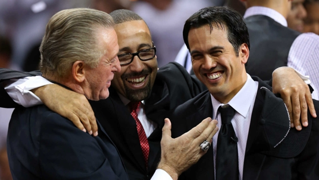 David Fizdale flanked by Pat Riley, left, and Erik Spoelstra