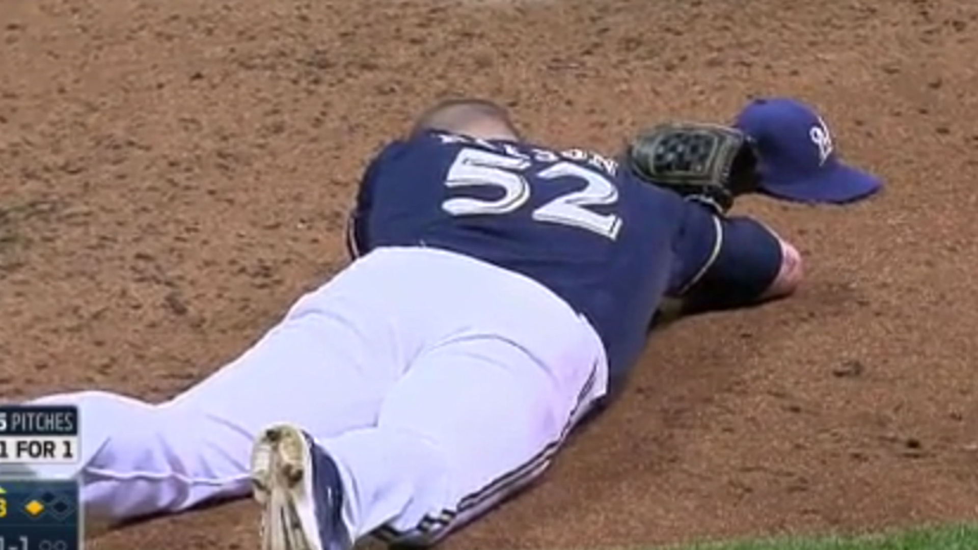 Jimmy Nelson lay on the ground after being hit by line drive