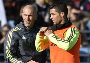 Real Madrid coach Zinedine Zidane and Cristiano Ronaldo