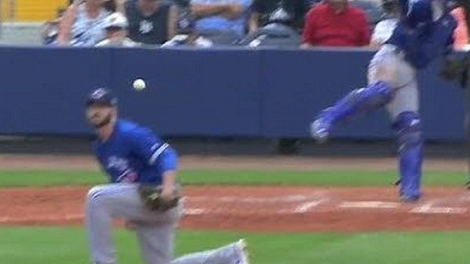 Drew Hutchinson hit in head on throw