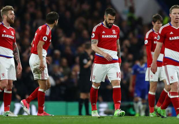 Image result for Middlesbrough relegated after defeat at Chelsea