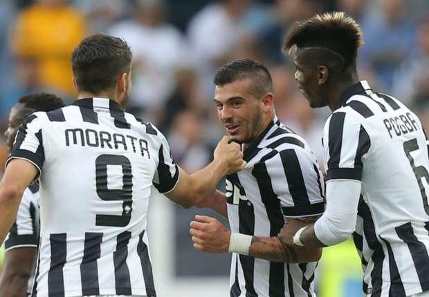 Stefano Sturaro celebrates scoring his first Juventus goal