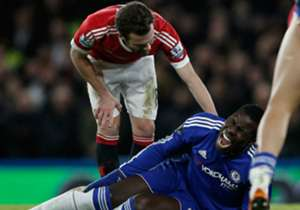 Kurt Zouma after suffering a knee injury for Chelsea