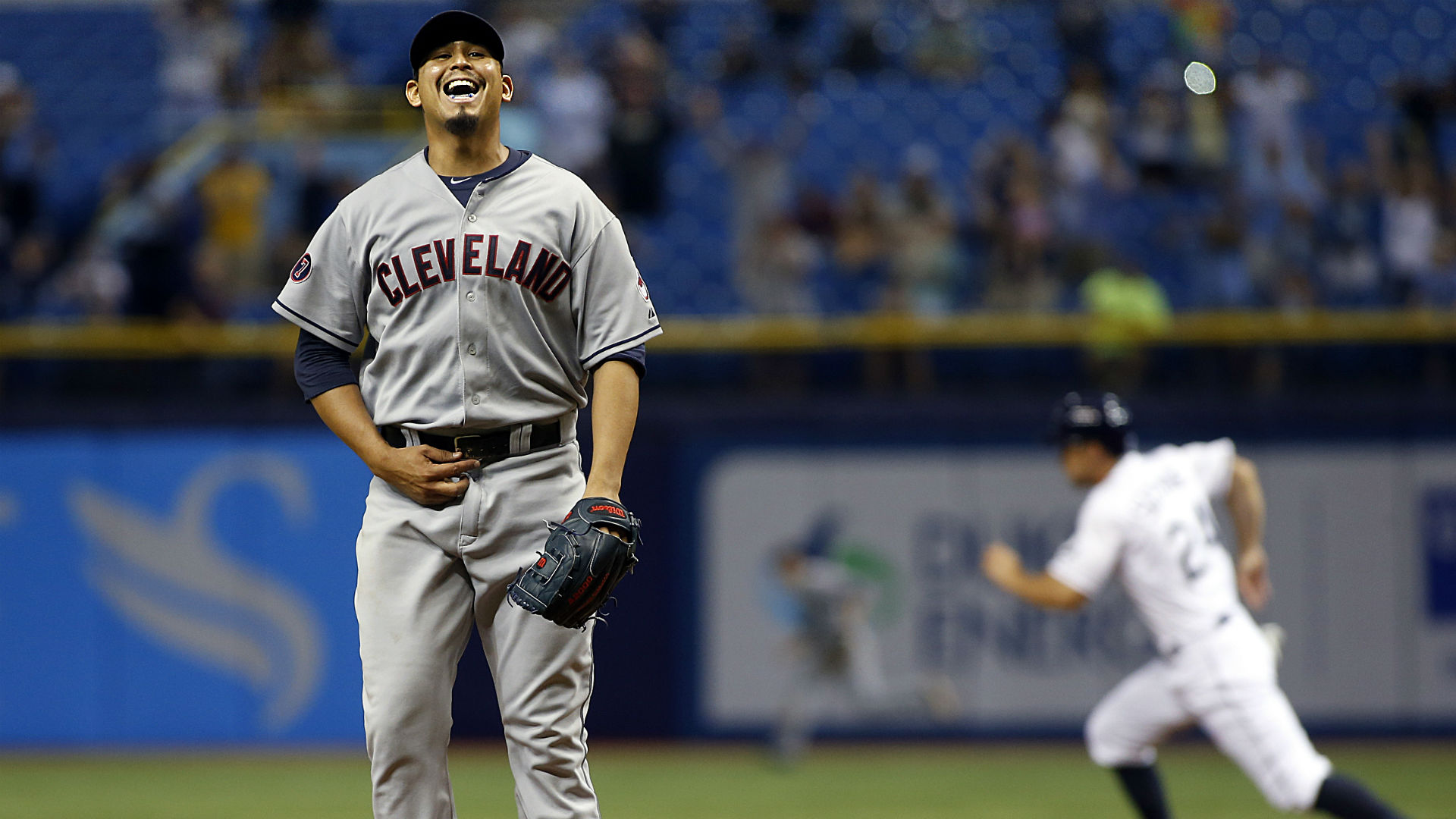 Carlos Carrasco reacts after losing no-hitter
