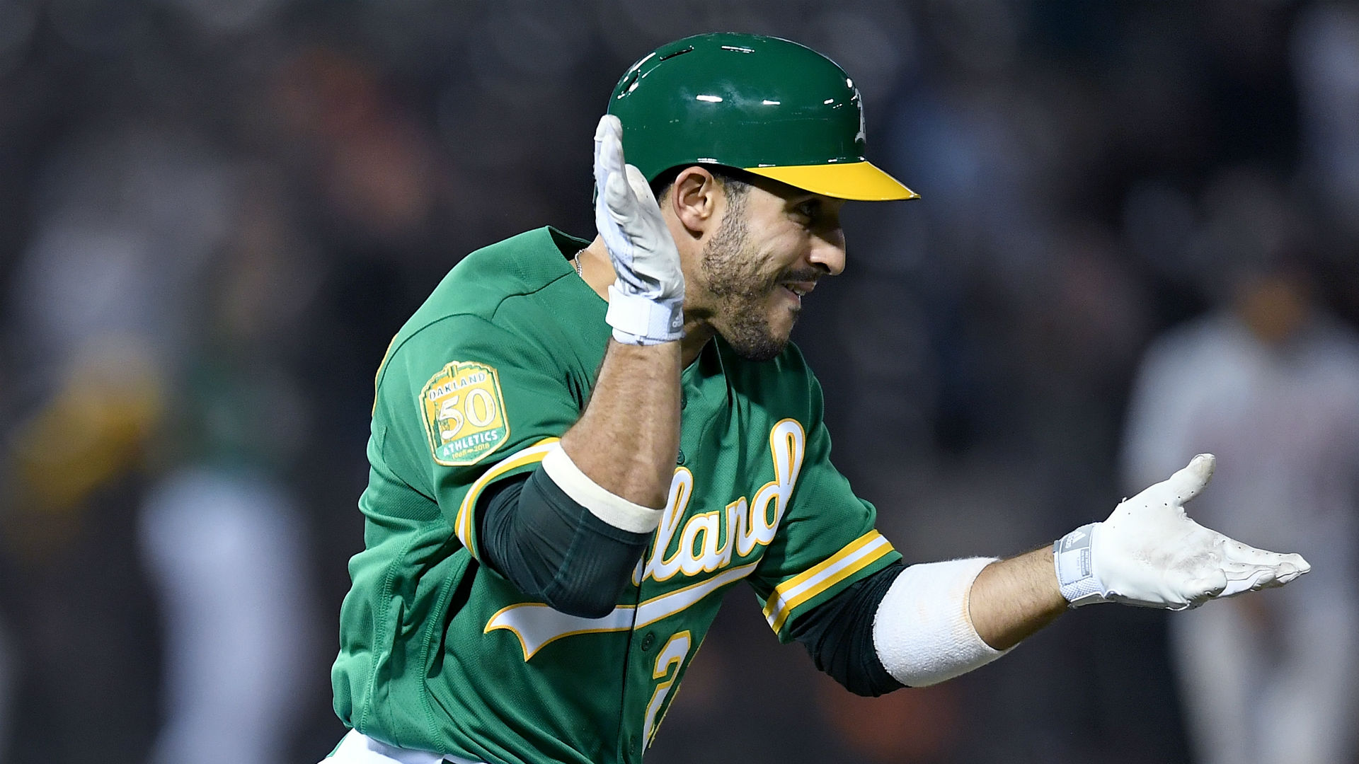 Ramon Laureano executes 321-foot throw to complete double play
