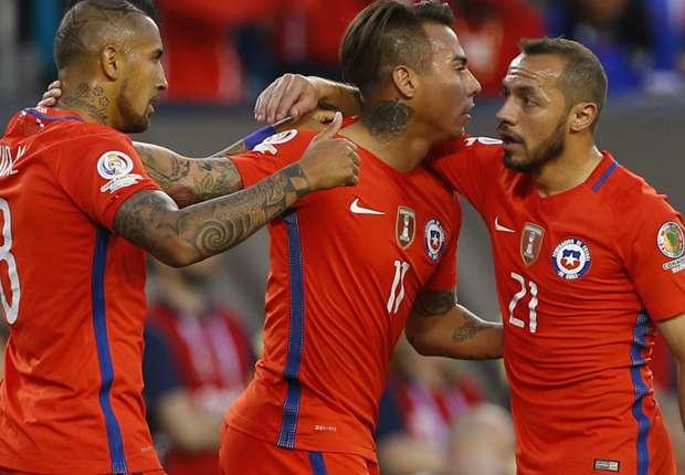 Chile celebrate their semi-final win