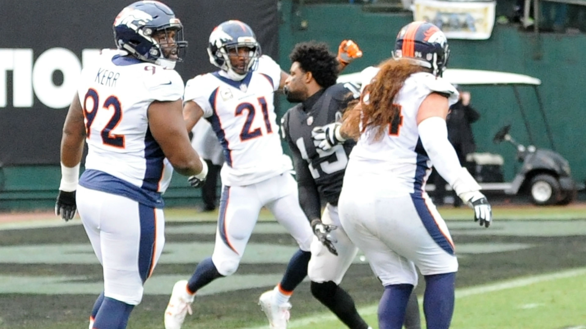 Michael Crabtree and Aqib Talib fight in Raiders-Broncos game