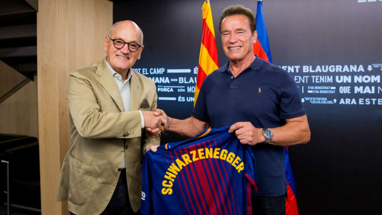 I'll be back! Schwarzenegger visits Barcelona