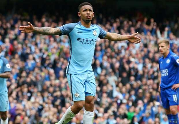 Gabriel Jesus celebrates a Manchester City goal against Leicester City
