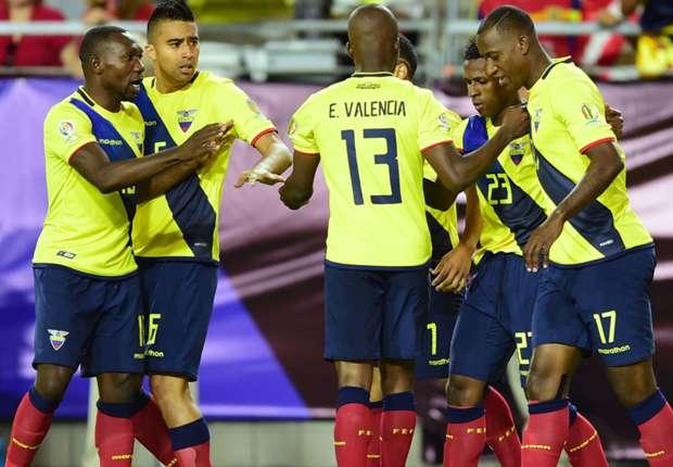 Ecuador players celebrate Miller Bolanos' equaliser