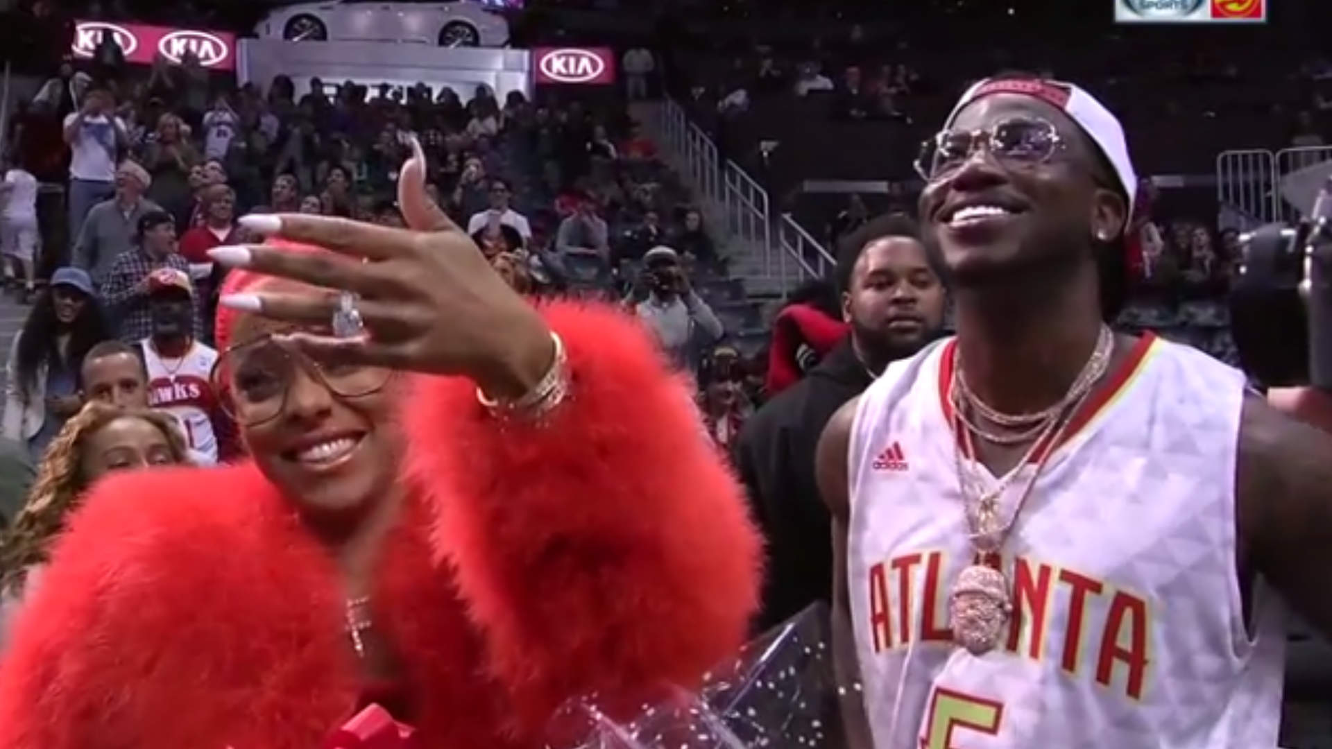 Rapper Gucci Mane proposes to girlfriend Keyshia Ka'oir at National Basketball Association game