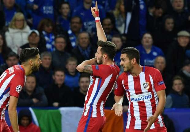Saul Niguez (centre) celebrates his goal against Leicester City