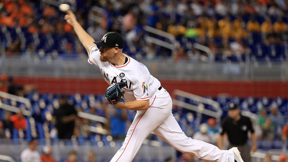 Watch: Marlins' Dan Straily takes 110-mph line drive off his body, stays in game