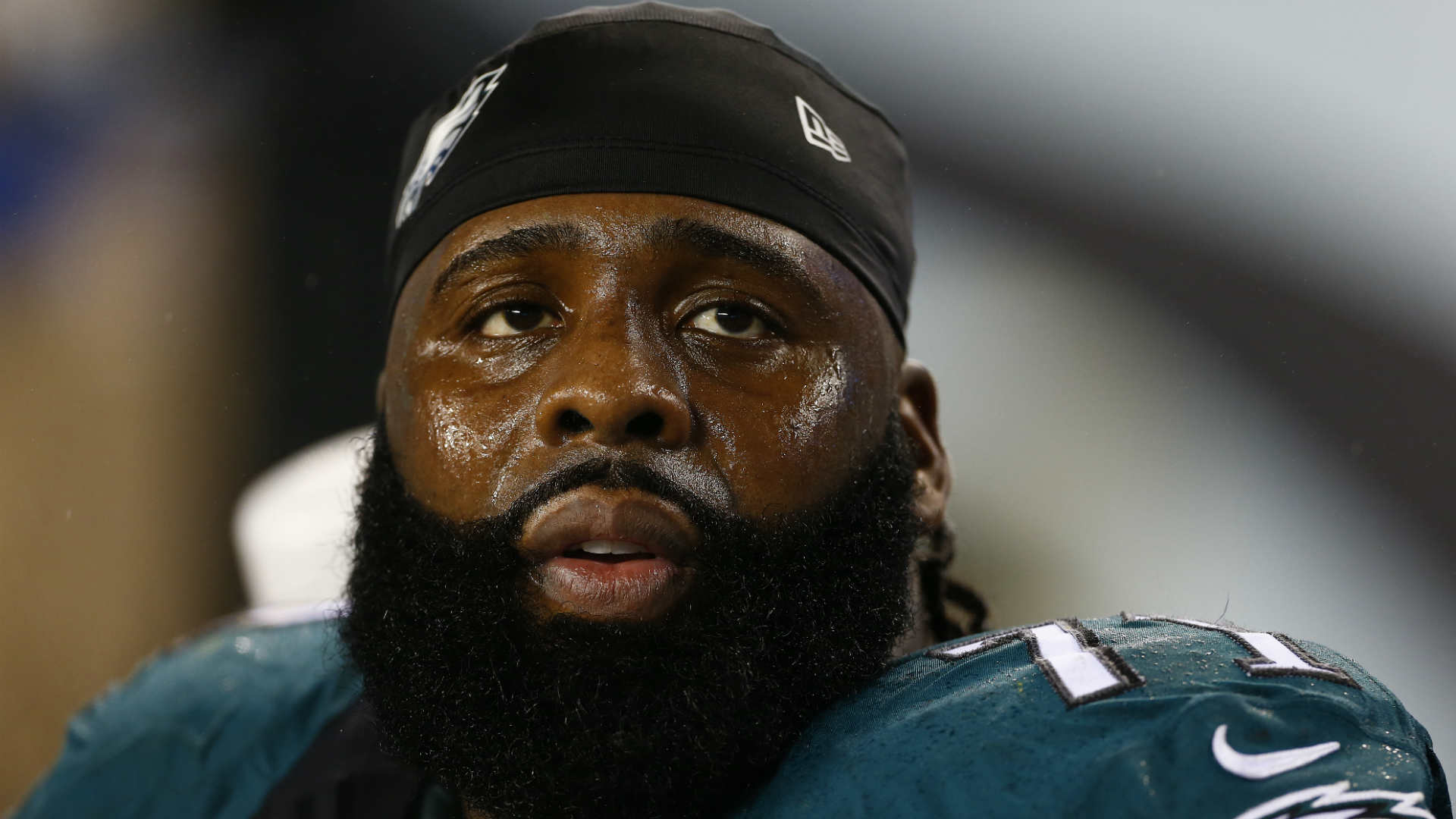 Philadelphia Eagles' Jason Peters leaves field on cart with knee injury