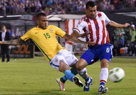 Paraguay 2-2 Brazil: Late Alves goal