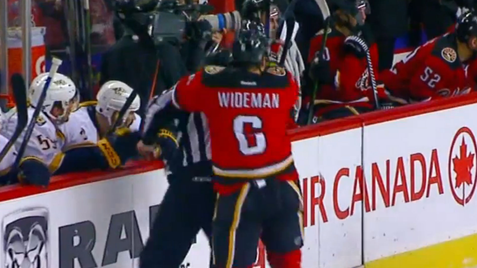 Flames' Dennis Wideman suspended indefinitely for hit on linesman