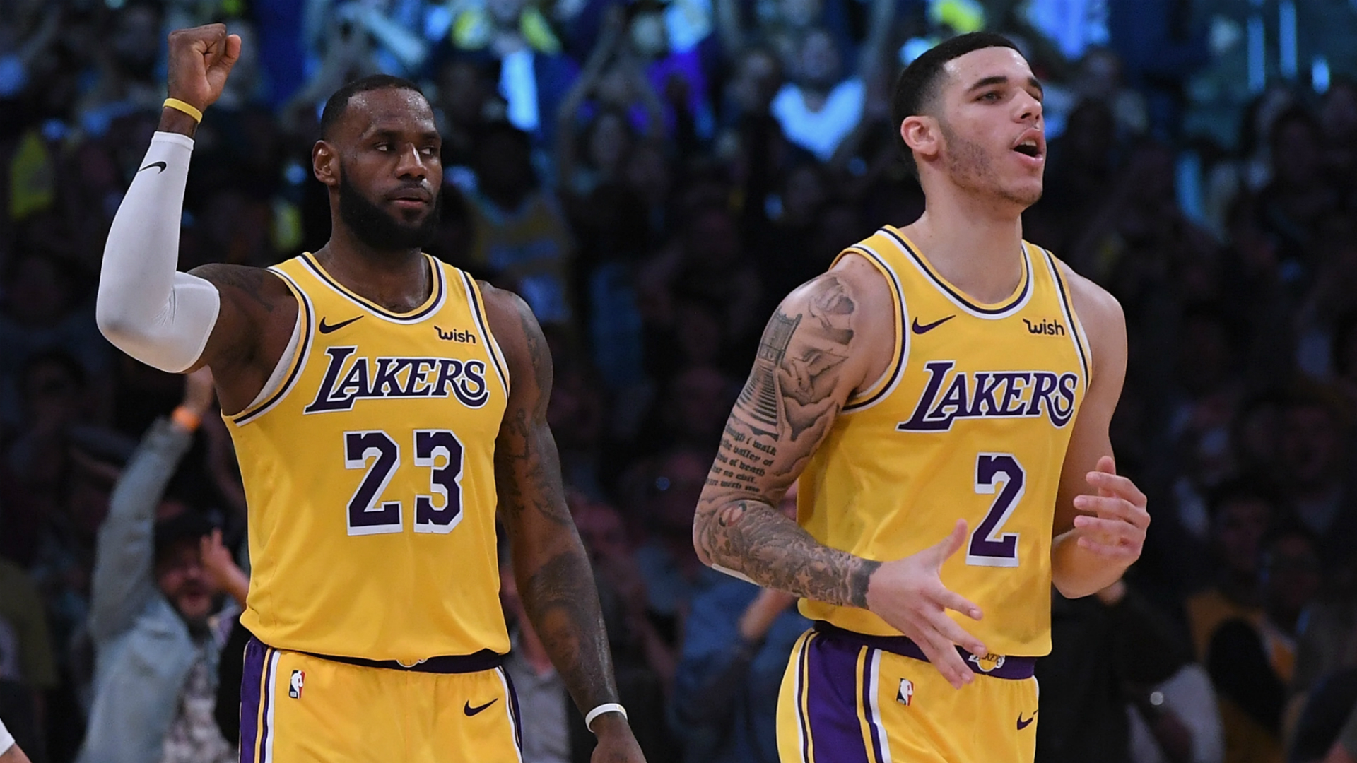 LeBron James and Los Angeles Lakers team-mate Lonzo Ball