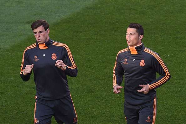 Real Madrid forwards Gareth Bale and Cristiano Ronaldo