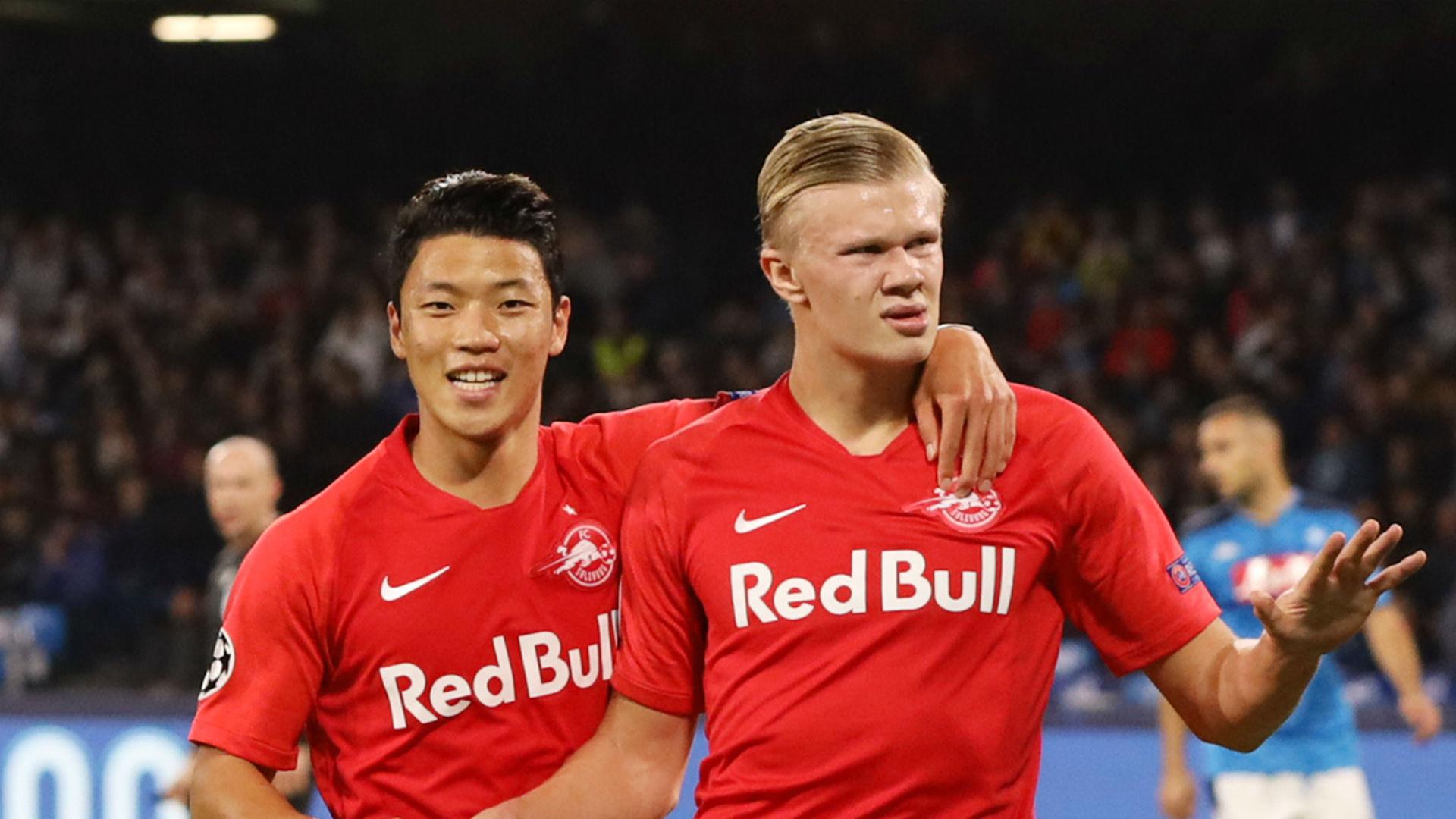 Erling Haaland celebrates against Napoli