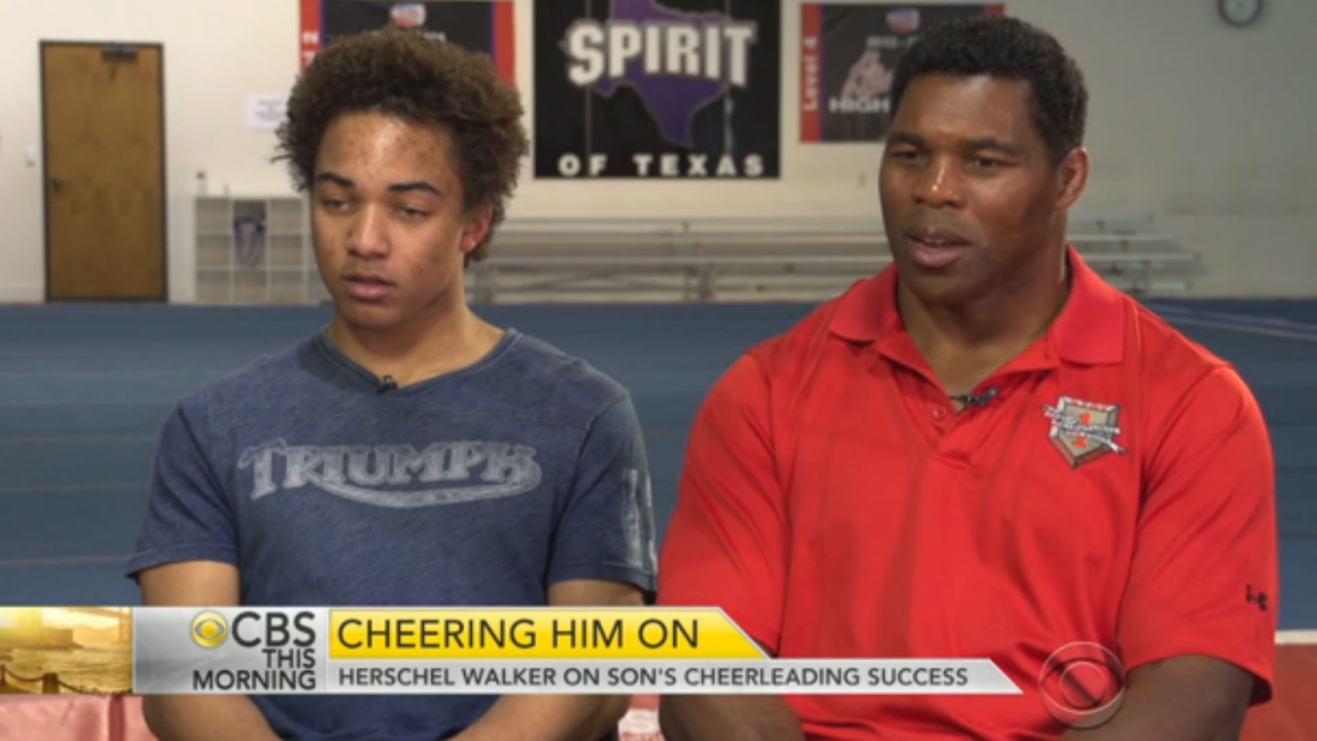 Herschel Walker proudly supports cheerleading son