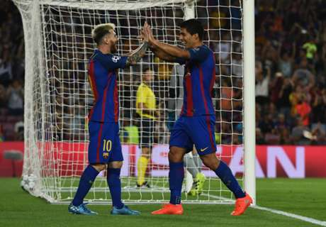 Suarez celebrates MSN reunion