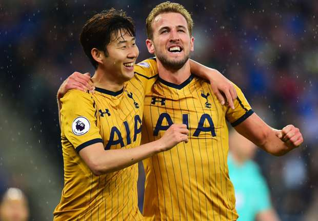 Son Heung-min and Harry Kane celebrate for Tottenham