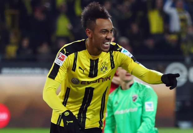 Aubameyang celebrates for Dortmund