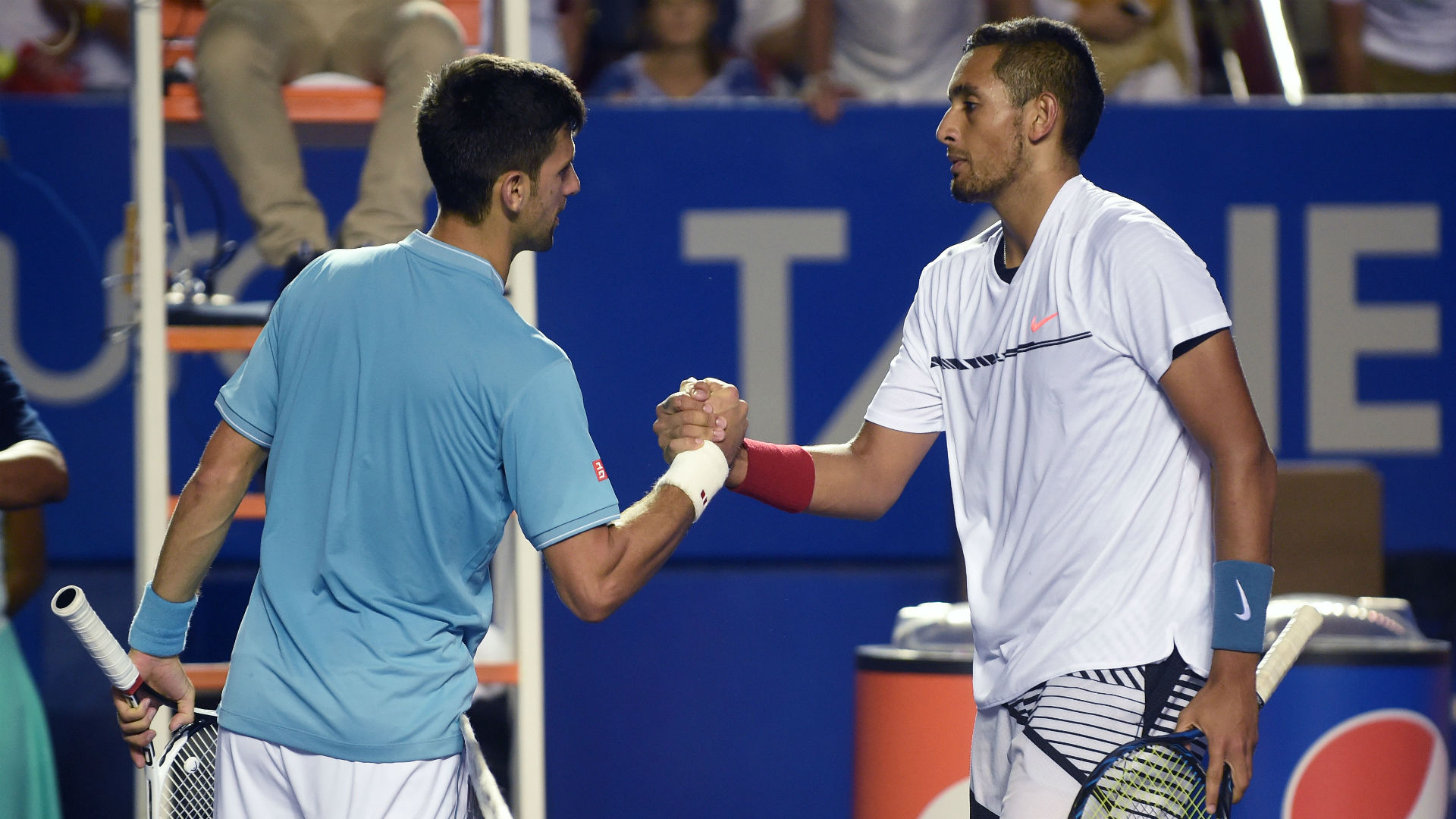 Nick Kyrgios gives shell-shocked Novak Djokovic the Mexican wave