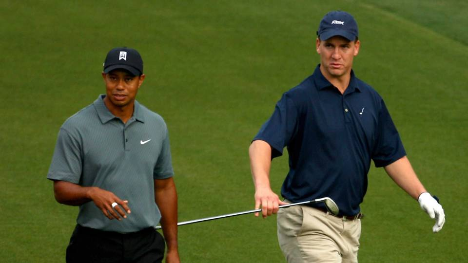 Tiger Woods and Peyton Manning at Quail Hollow