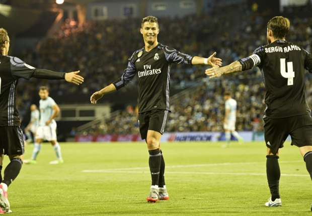 Cristiano Ronaldo celebrates against Celta Vigo