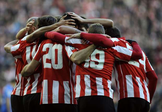Athletic Bilbao players celebrate a goal