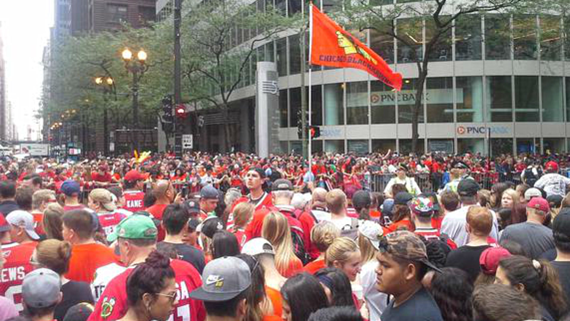 Fans at Blackhawks Stanley Cup parade