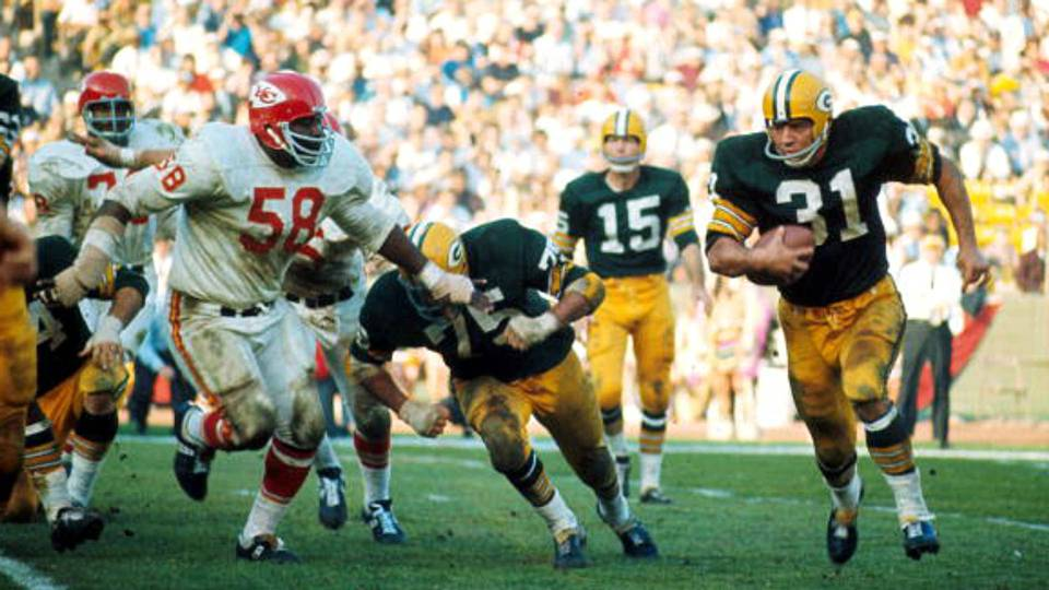 Bart Starr (15), Andy Rice (58) et Jim Taylor (31)
