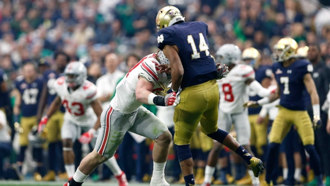 Ohio State's Joey Bosa was ejected for targeting Notre Dame's DeShone Kizer in the Fiesta Bowl.