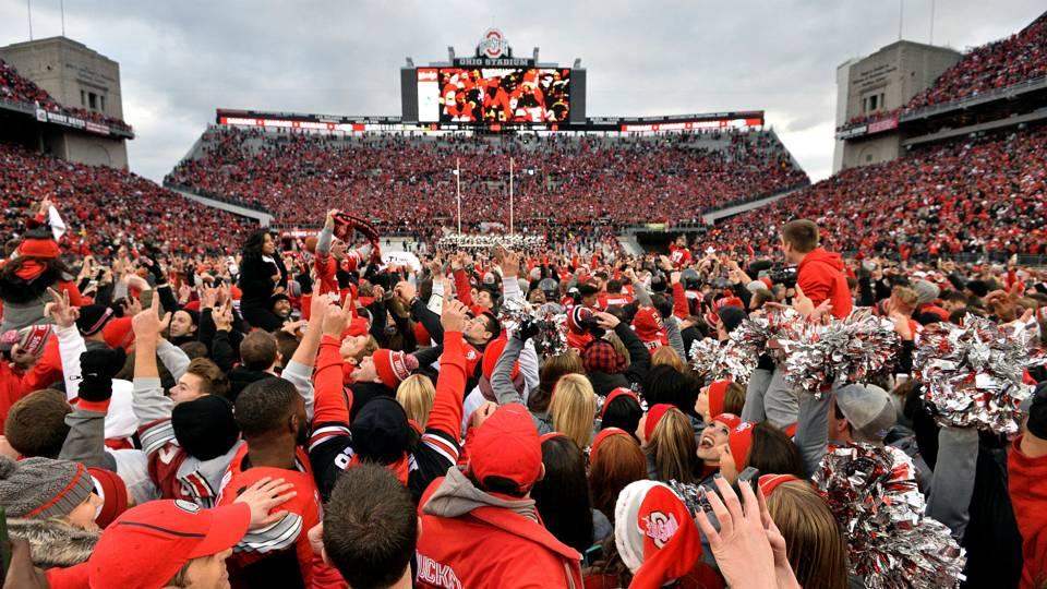 Ohio State fans celebrate win over Michigan