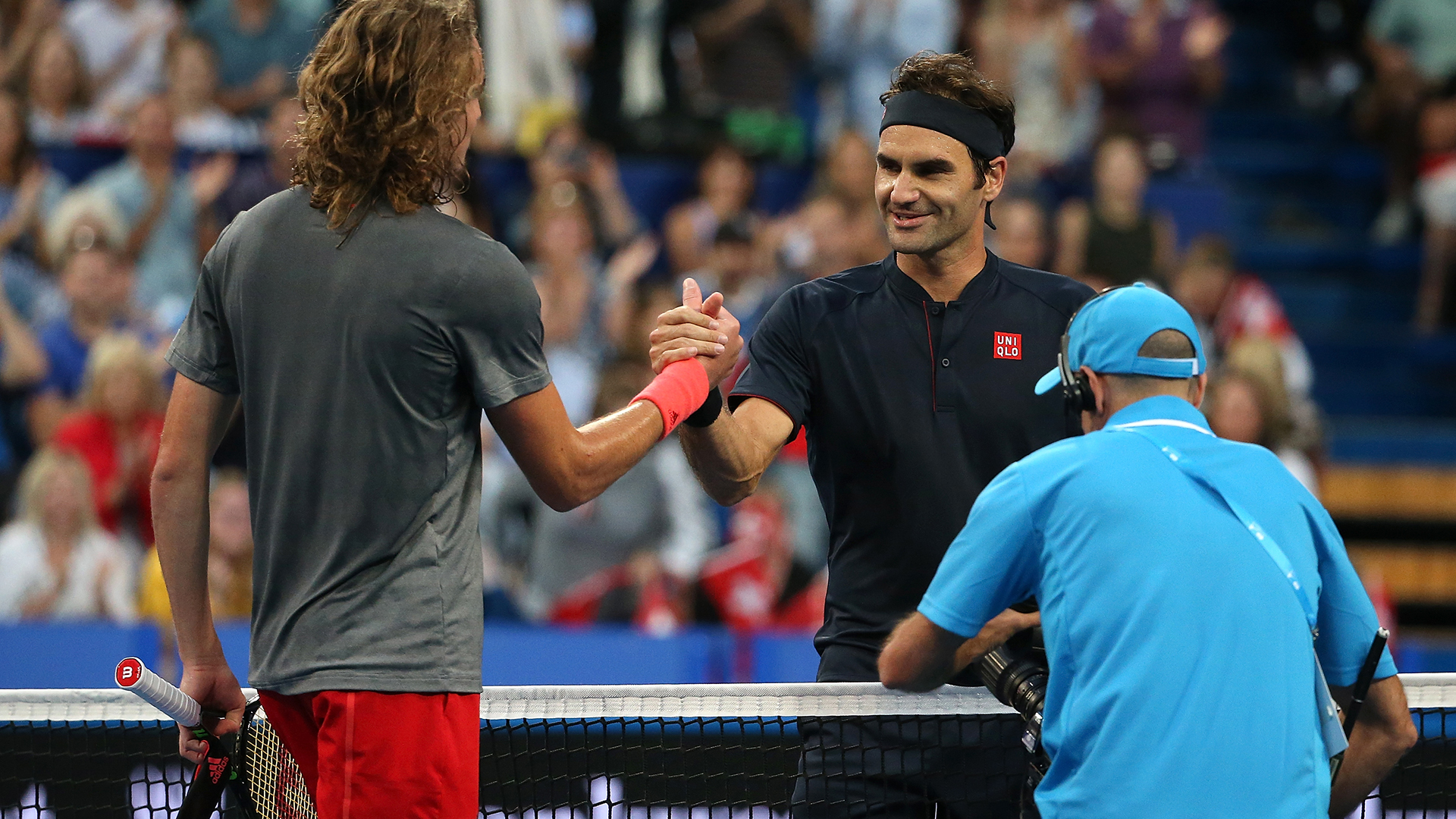 Not so fast, Roger. Federer blocked by security