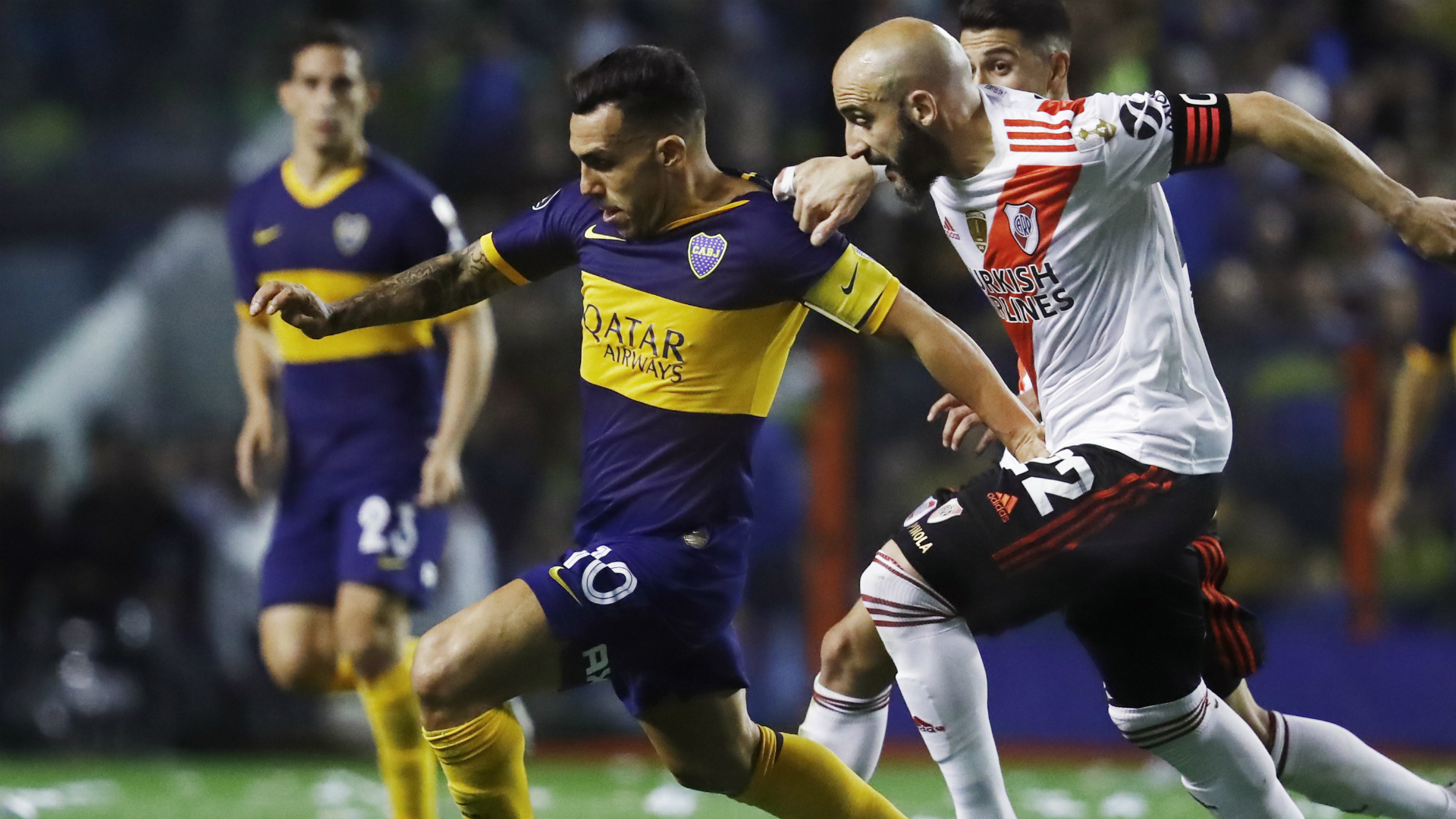 Boca Juniors and River Plate in action in the Copa Libertadores semi-final