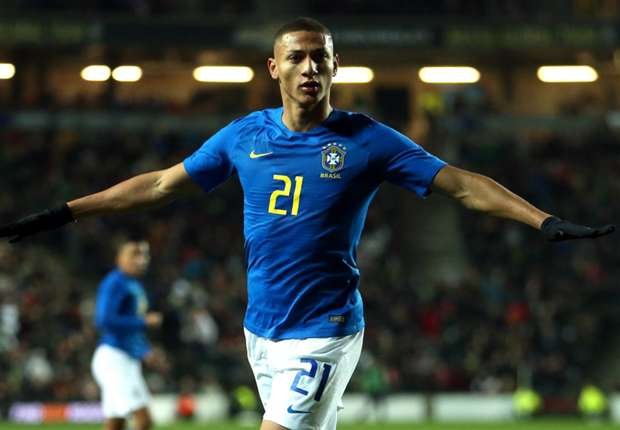 Richarlison celebrates for Brazil