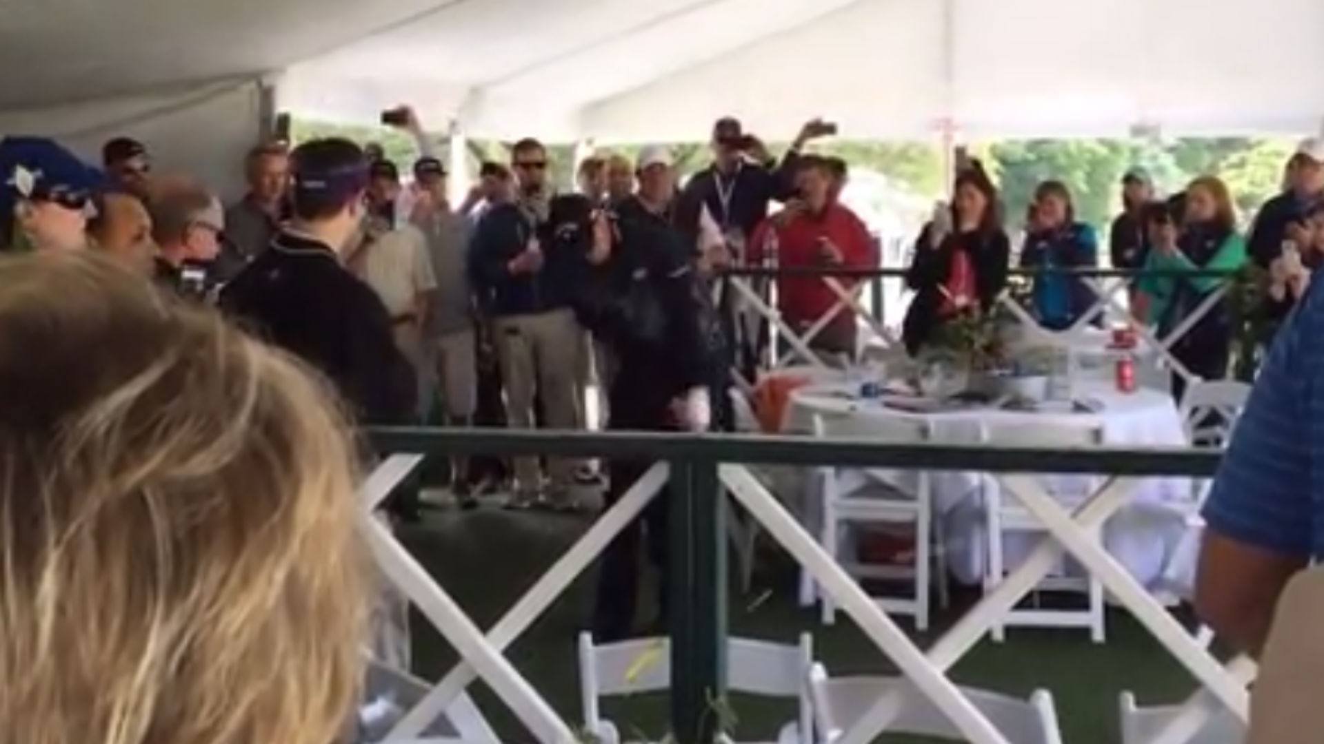 Golfer hits shot into hospitality tent at Wells Fargo Championship, somehow recovers