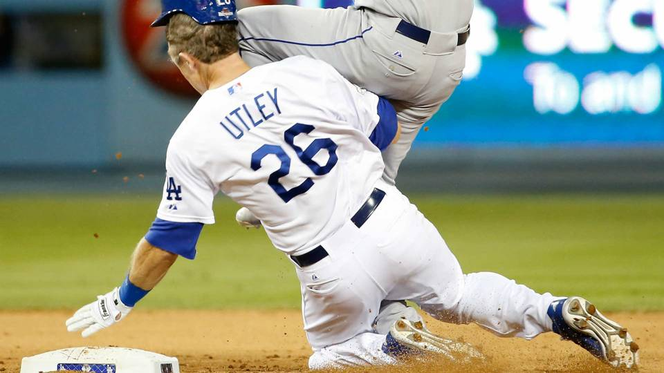 Chase Utley slides into Ruben Tejada