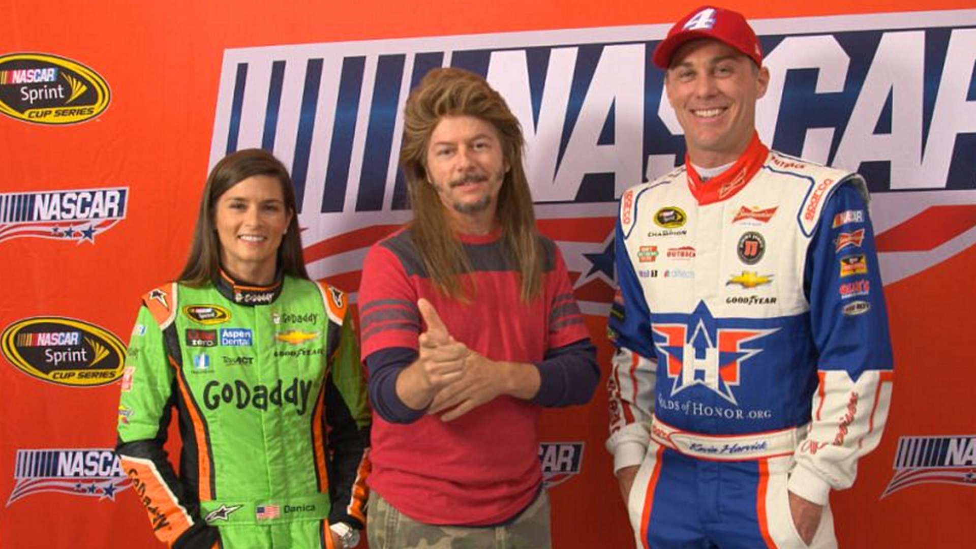 Joe Dirt gives advice to Kevin Harvick, Danica Patrick at Daytona
