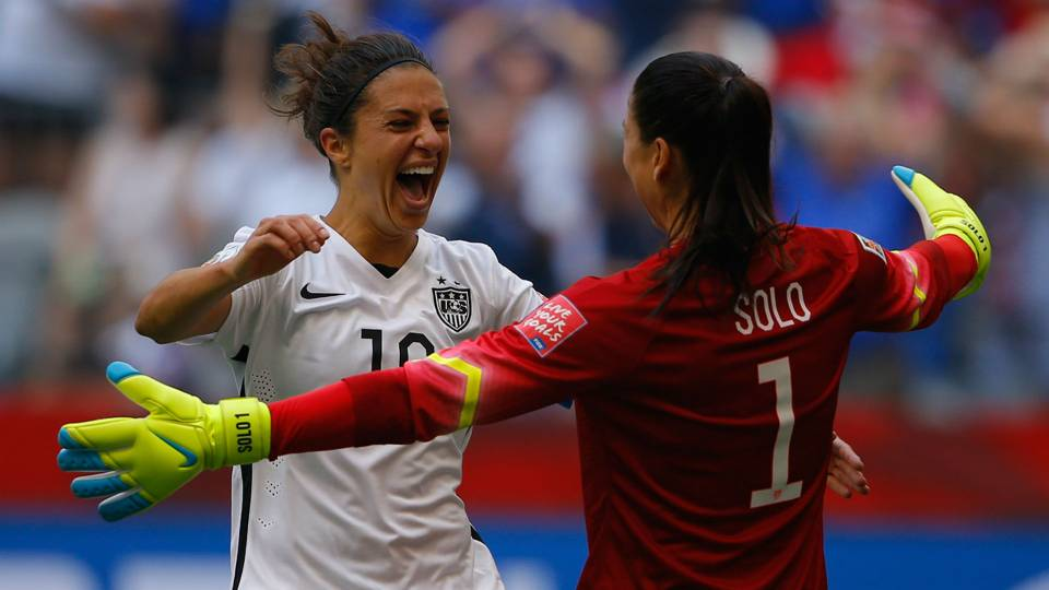 Carli Lloyd, Hope Solo celebrate