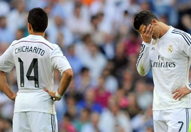 Real Madrid forwards Javier Hernandez and Cristiano Ronaldo