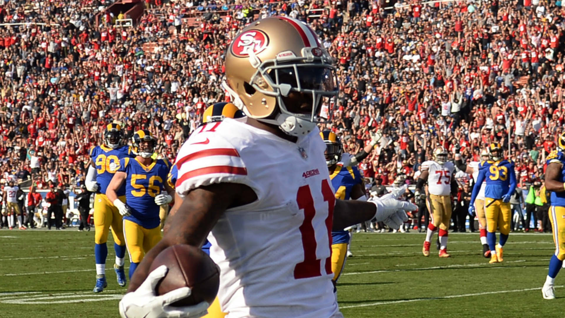 49ers Goodwin taken to hospital after frightening hit