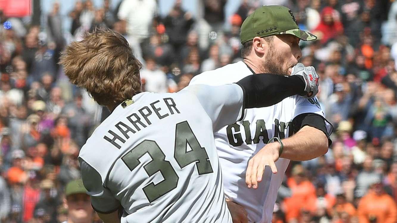 WATCH: Bryce Harper and Hunter Strickland suspended for starting MLB brawl
