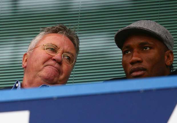Chelsea manager Guus Hiddink and Didier Drogba