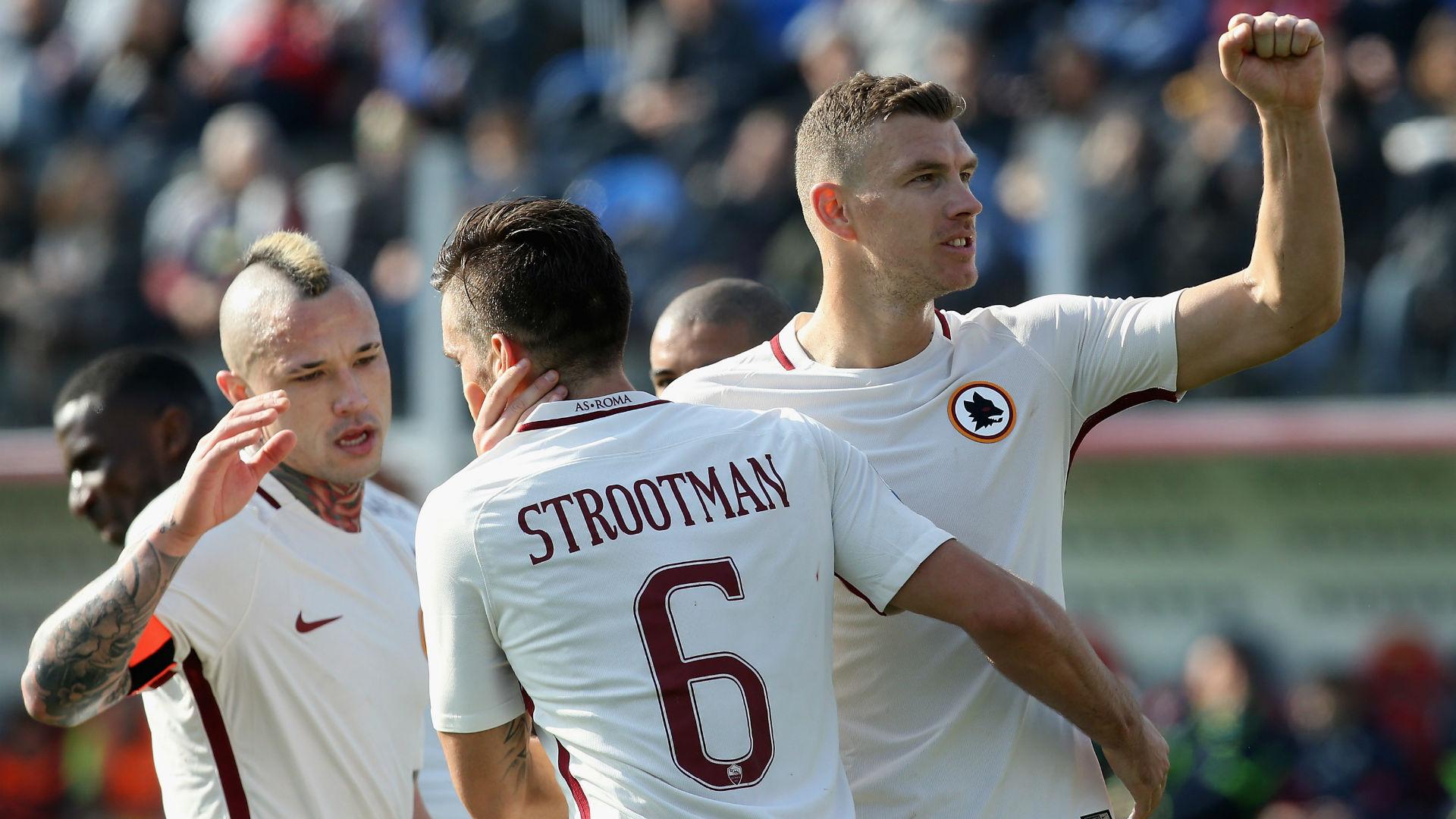 Nainggolan and Dzeko on target as Roma put the pressure on Juve