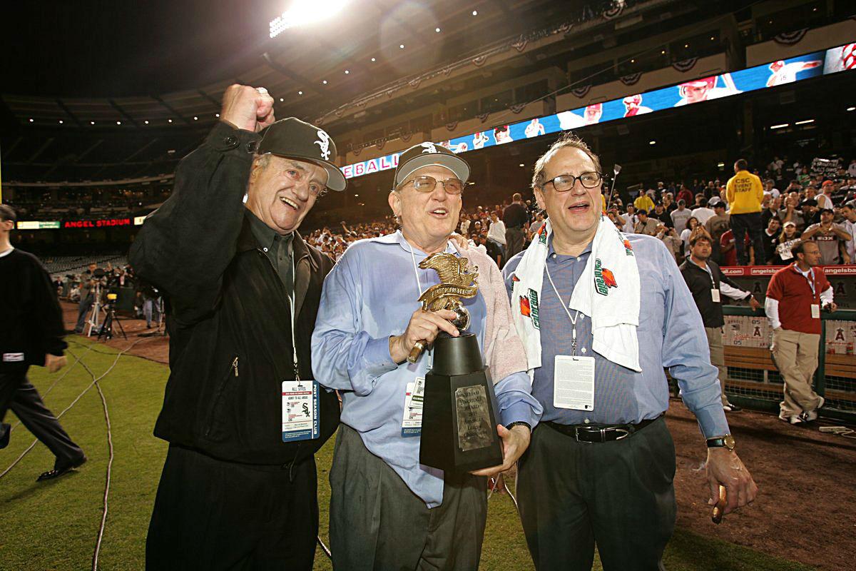 Eddie Einhorn with the 2005 World Series trophy